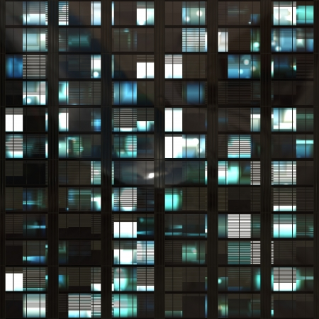 computer generated 3d photo of skyscraper windows at night