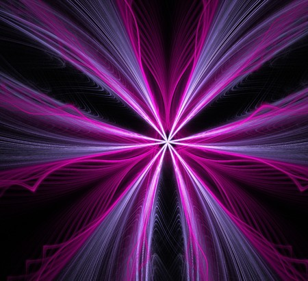 purple, blue and white streaks flaring outward on a black background. fractal wallpaper with streaks