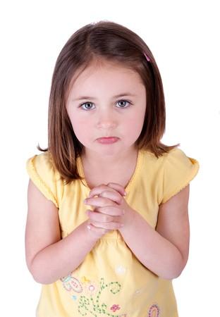 Ein junges Mädchen Kind betteln blickte zu Viewer und in der Hoffnung auf etwas Standard-Bild - 7439215
