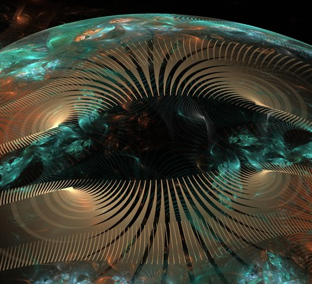 a fantasy world opening up in outer space with spirals, and colorful lines in brown and teal blue tones