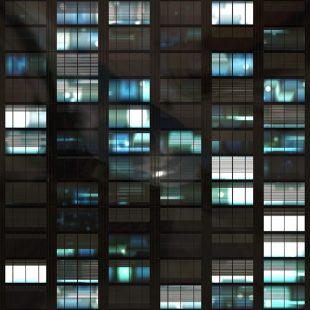 infinitely: computer generated lit windows in a tall office skyscraper. tiles seamlessly for infinitely high building Stock Photo