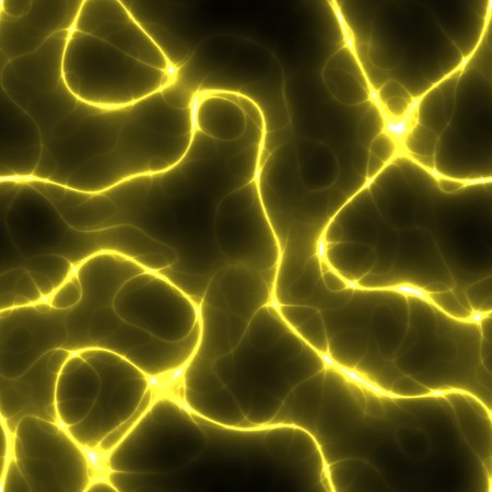 charged bolts of yellow lightning bouncing around a black background. tiles seamlessly. Stock Photo