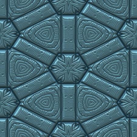 blauwe getextureerde leer achtergrond met star of blad en harten patroon. naadloos tegels
