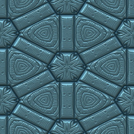 blue textured leather background with star or leaf and hearts pattern. tiles seamlessly Stock Photo