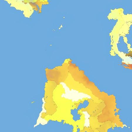 黄色の土地とブルーウォーター ファンタジー地図