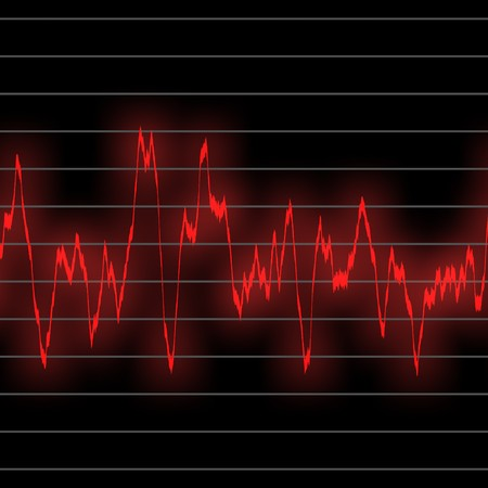 electronic music beats in an oscilliscope glowing neon green. tiles seamlessly for longer beat patterns Stock Photo