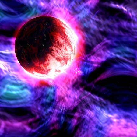 friction: one large planet starting to burn up with friction as it hits a solid blue and purple gaseous sky