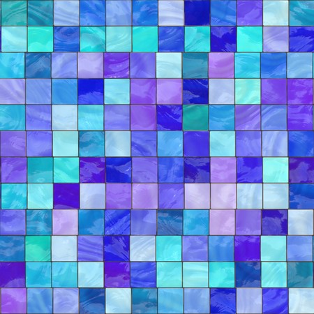 computer generated blue stained glass with teal and purple. tiles seamlessly