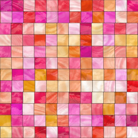 seamlessly: pink, red and orange stained glass squares. tiles seamlessly Stock Photo