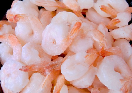 one big pile of frozen shrimp