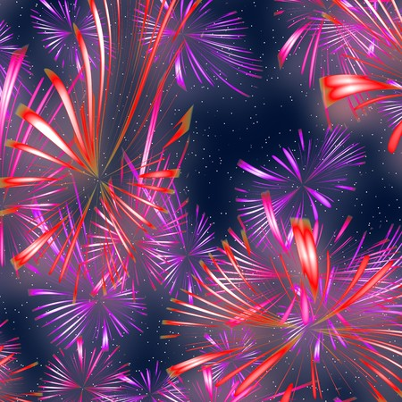 colorful exploding fireworks at night graphic illustration