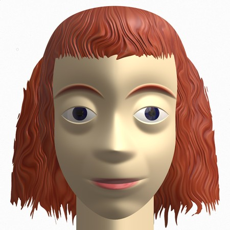 red haired woman: computer generated avatar of a thin, redhead female. headshot portrait