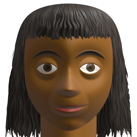 computer generated avatar of a dark skinned African American or Indian brunette female. headshot portrait photo