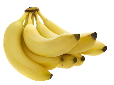 one small bunch of yellow bananas over white Stock Photo - 7697342