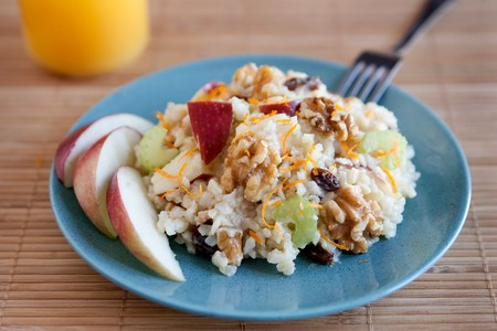 one plate of apple walnut salad with raisins like waldorff photo