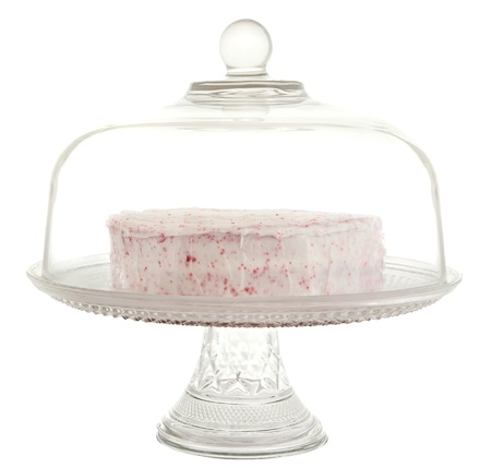 red velvet dessert in a glass cake tray Banque d'images