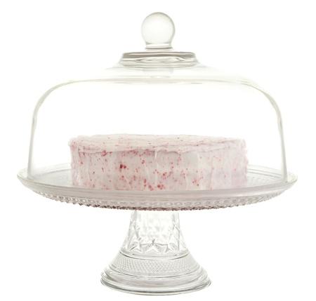 red velvet dessert in a glass cake tray Stock Photo