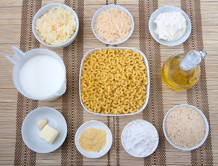 prep bowls full of ingredients for homemade macaroni and cheese