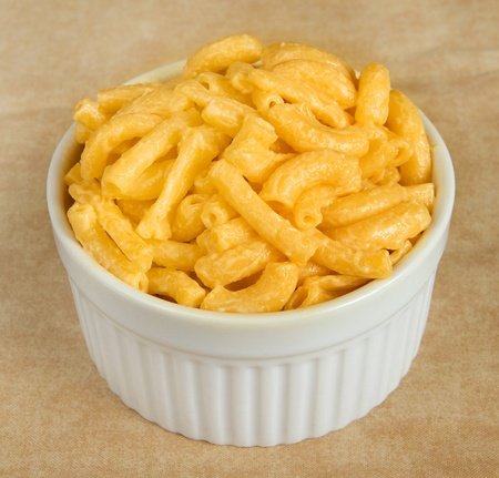 macaroni and cheese dinner in a ramekin