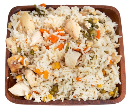 bowl of chicken and rice with mixed vegetables photo