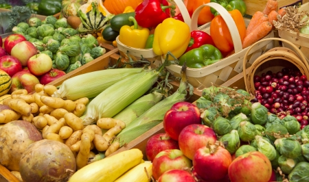 harvest organic: large harvest of fruits and vegetables Stock Photo