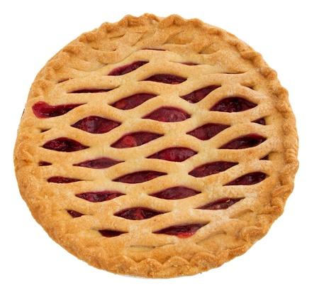 one whole cherry pie over white. top down view. Archivio Fotografico