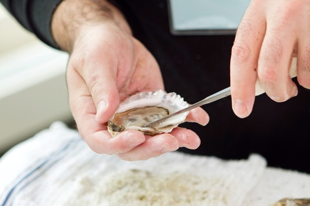 shucked: guy shucking an oyster with his hands Stock Photo