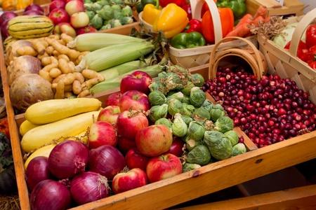 granjero: gran grupo de las verduras de la cosecha de otoño como el maíz y las manzanas