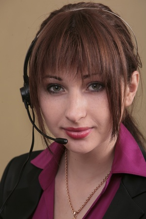 sexy twenties woman using a headset for csr