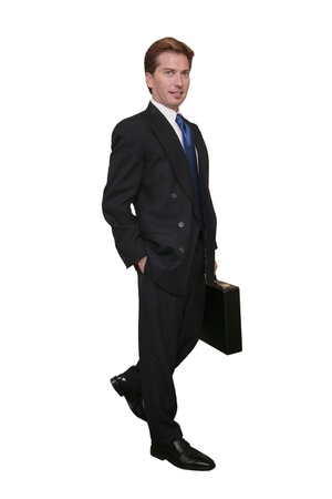 one thirties businessman in a dark suit with briefcase over white Banque d'images