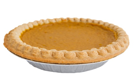 one whole pumpkin pie isolated over white  Banque d'images