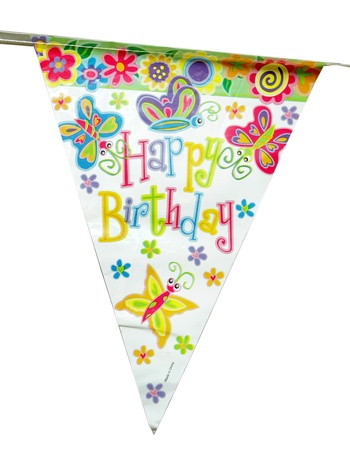 colorful happy birthday sign over white Banque d'images
