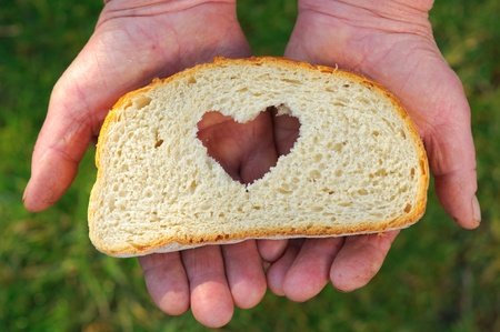 Dirty old hands holding a heart shaped slice of white bread on green background. photo