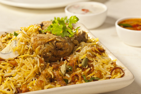chicken rice: Hot delicious chicken biryani  Stock Photo