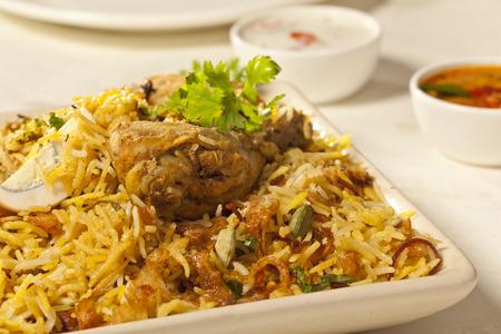fine: Hot delicious chicken biryani  Stock Photo