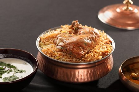 basmati: Hyderabadi Biryani - is perhaps the most well-known Non-Vegetarian culinary delights from the famous Hyderabad Cuisine.  It is a traditional dish made using Basmati rice, goat meat and various other exotic spices