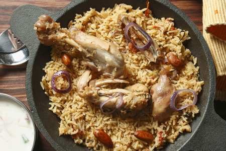 Ahmedi Biryani - Ahmedi biryani is cooked in an earthen pot for many hours on very low indirect flame  Stock fotó