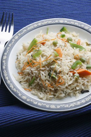 veg: Vegetable Biryani - A popular Indian veg dish made with vegetales and Basmati rice  Stock Photo