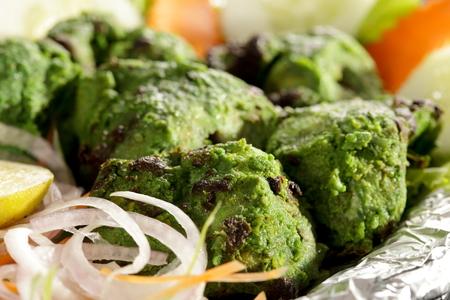 kabab: Hariyali kabab is a Punjabi style chicken tikka or kabab made with combination of mint and coriander