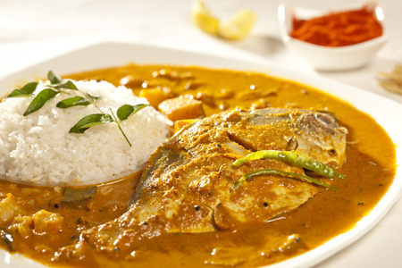 Fish curry with rice  photo