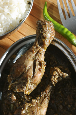 indian cookery: Andhra Chili Chicken - a spicy and popular non-veg dish from Andhra Stock Photo