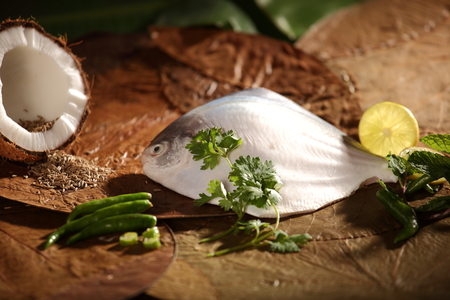 Ingredients for Delicious baked  steamed Parsi dish  photo