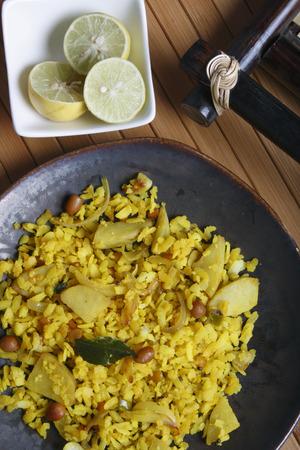 marathi: Poha - A snack made of beaten rice Stock Photo