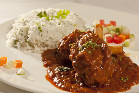 non vegetarian: Spicy mutton masala with rice