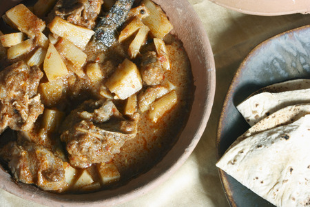mutton: Tamil mutton vindaloo dish with rice