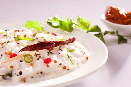 indian cookery: Curd Rice - A Rice mixed with yogurt and seasoning Stock Photo