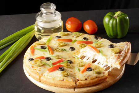 Delicious Vegetable cheese pizza