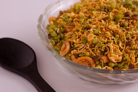 sev: Badshahi Mix - Chiwda a variable mixture of spicy dried ingredients