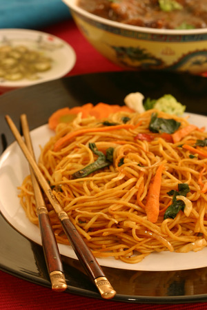 staple food: Garlic Noodles -  a form of staple food very popular among the Chinese  Stock Photo