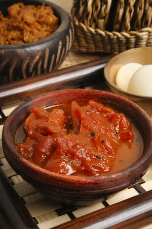 chutney: Tomato Oambal Chutney Stock Photo